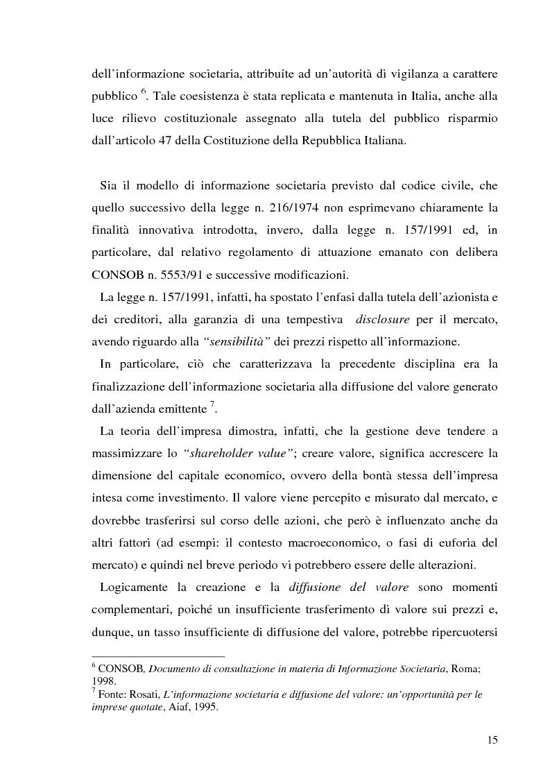 Anteprima della tesi: L'informazione societaria come veicolo del valore aziendale, Pagina 12