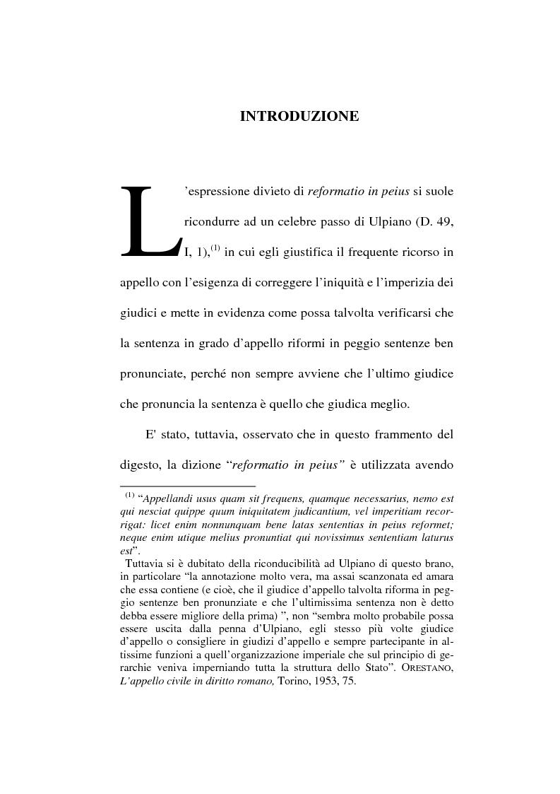 Anteprima della tesi: Il divieto di reformatio in peius nel processo penale, Pagina 1