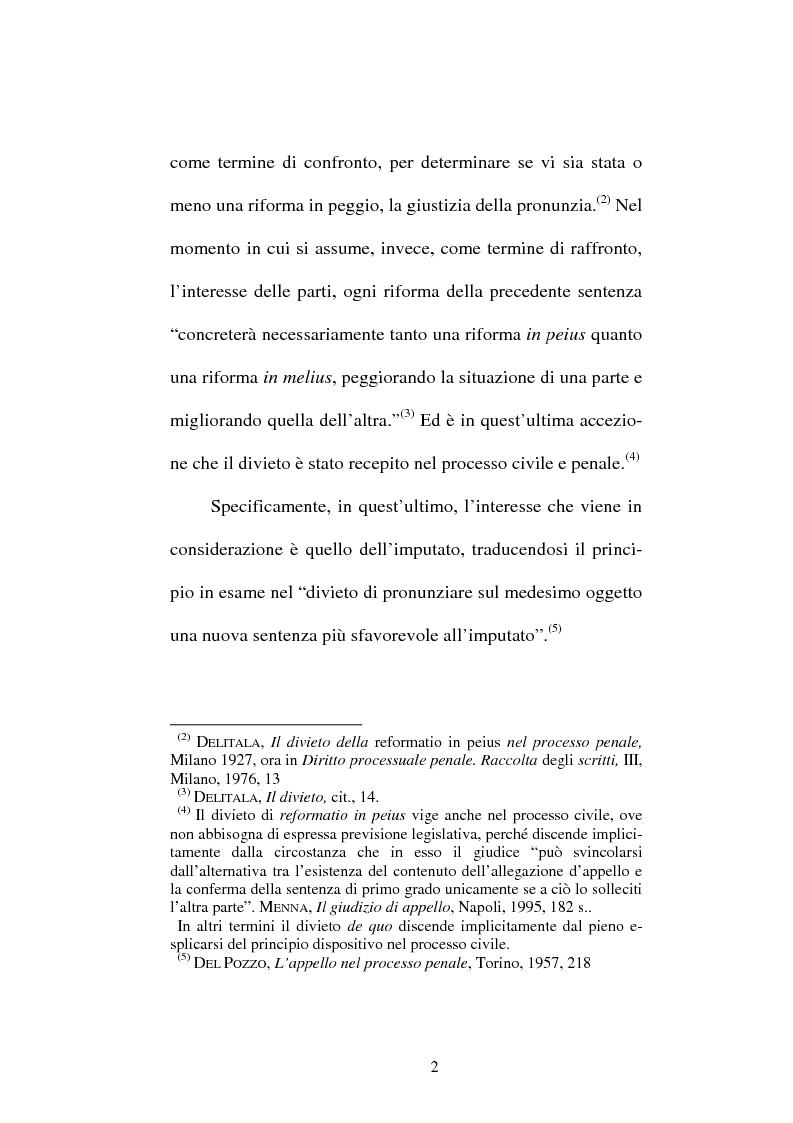 Anteprima della tesi: Il divieto di reformatio in peius nel processo penale, Pagina 2
