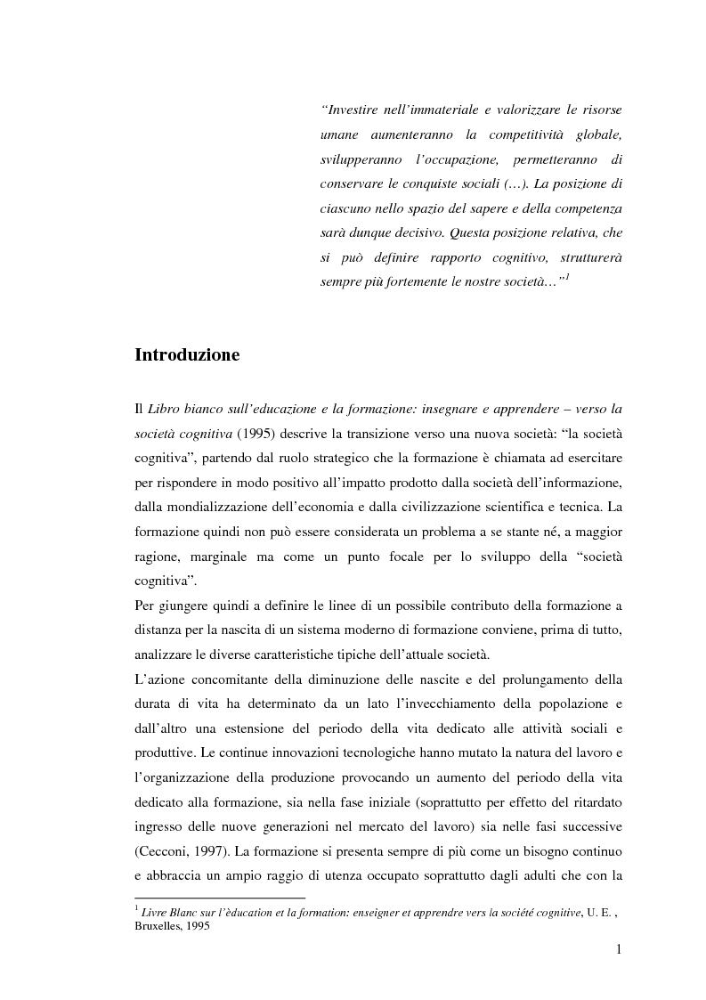 Anteprima della tesi: L'e-learning e i gruppi virtuali, Pagina 1