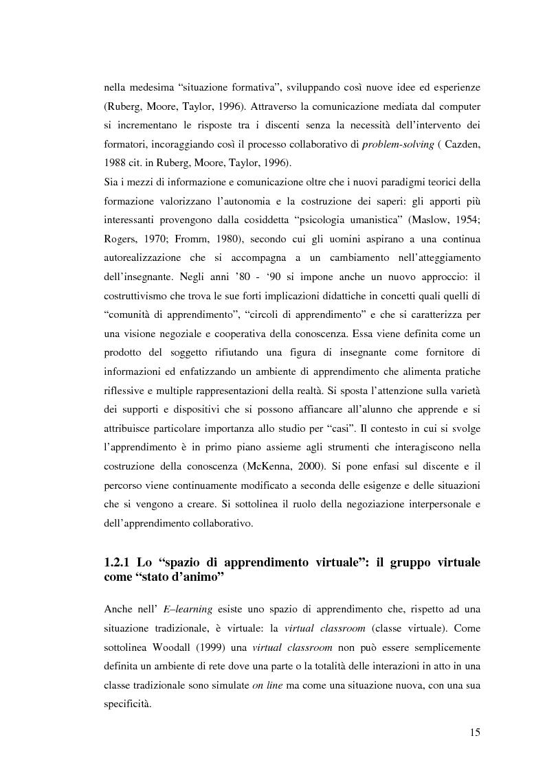 Anteprima della tesi: L'e-learning e i gruppi virtuali, Pagina 15