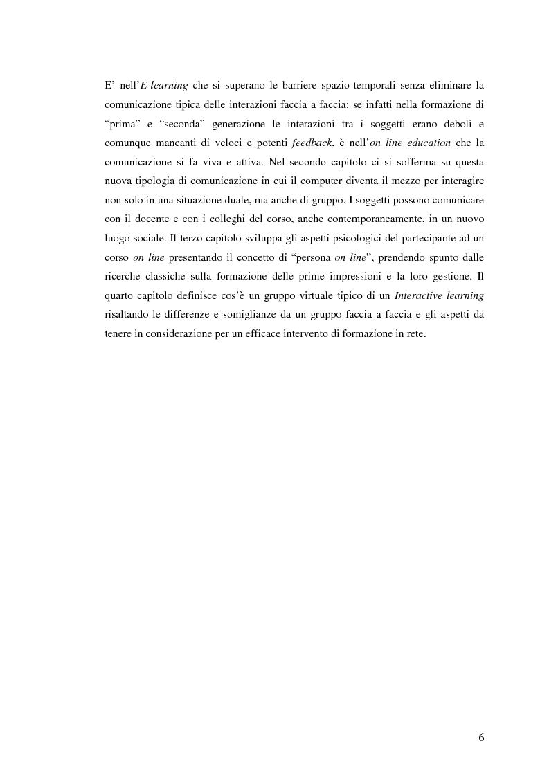 Anteprima della tesi: L'e-learning e i gruppi virtuali, Pagina 6