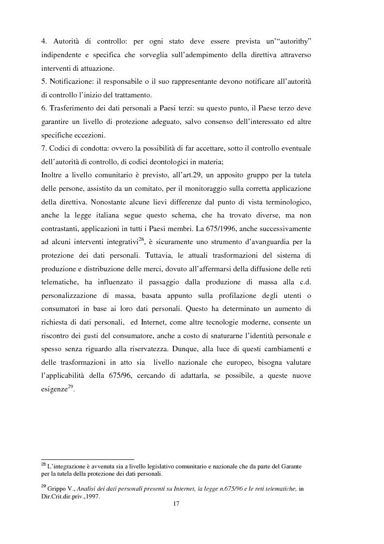 Anteprima della tesi: La tutela dei dati personali su Internet, Pagina 11
