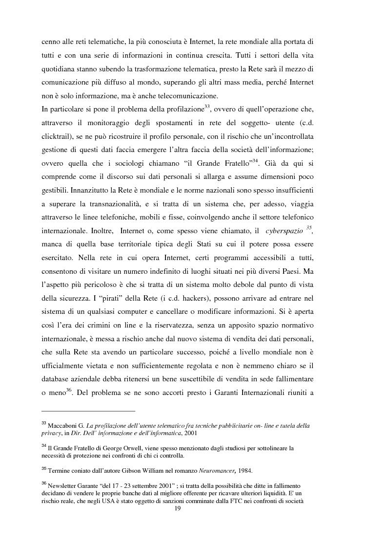 Anteprima della tesi: La tutela dei dati personali su Internet, Pagina 13