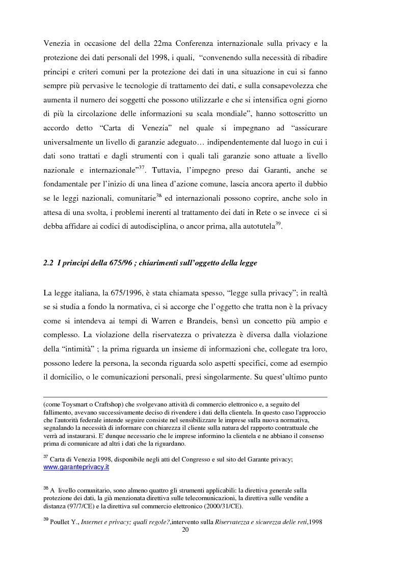 Anteprima della tesi: La tutela dei dati personali su Internet, Pagina 14