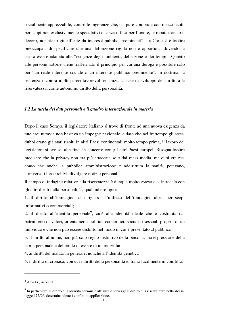 Anteprima della tesi: La tutela dei dati personali su Internet, Pagina 4
