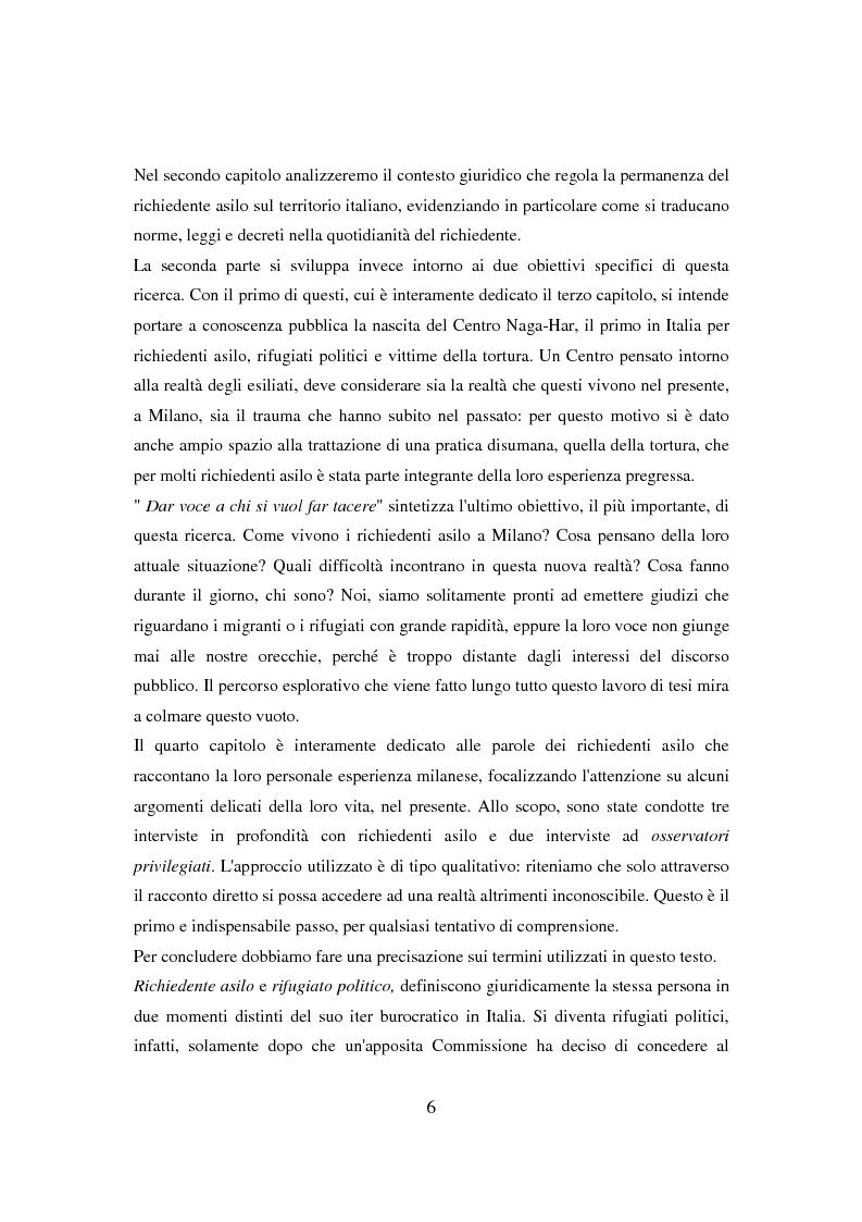 Anteprima della tesi: Il ponte spezzato. Richiedenti asilo politico a Milano tra società di arrivo e possibilità di socializzazione, Pagina 2