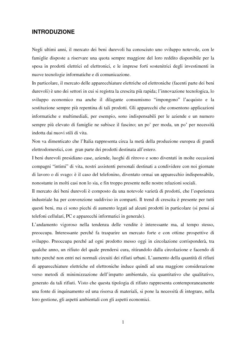Anteprima della tesi: La gestione dei beni durevoli dismessi: creazione del sistema nazionale di raccolta, recupero e riciclaggio, Pagina 1