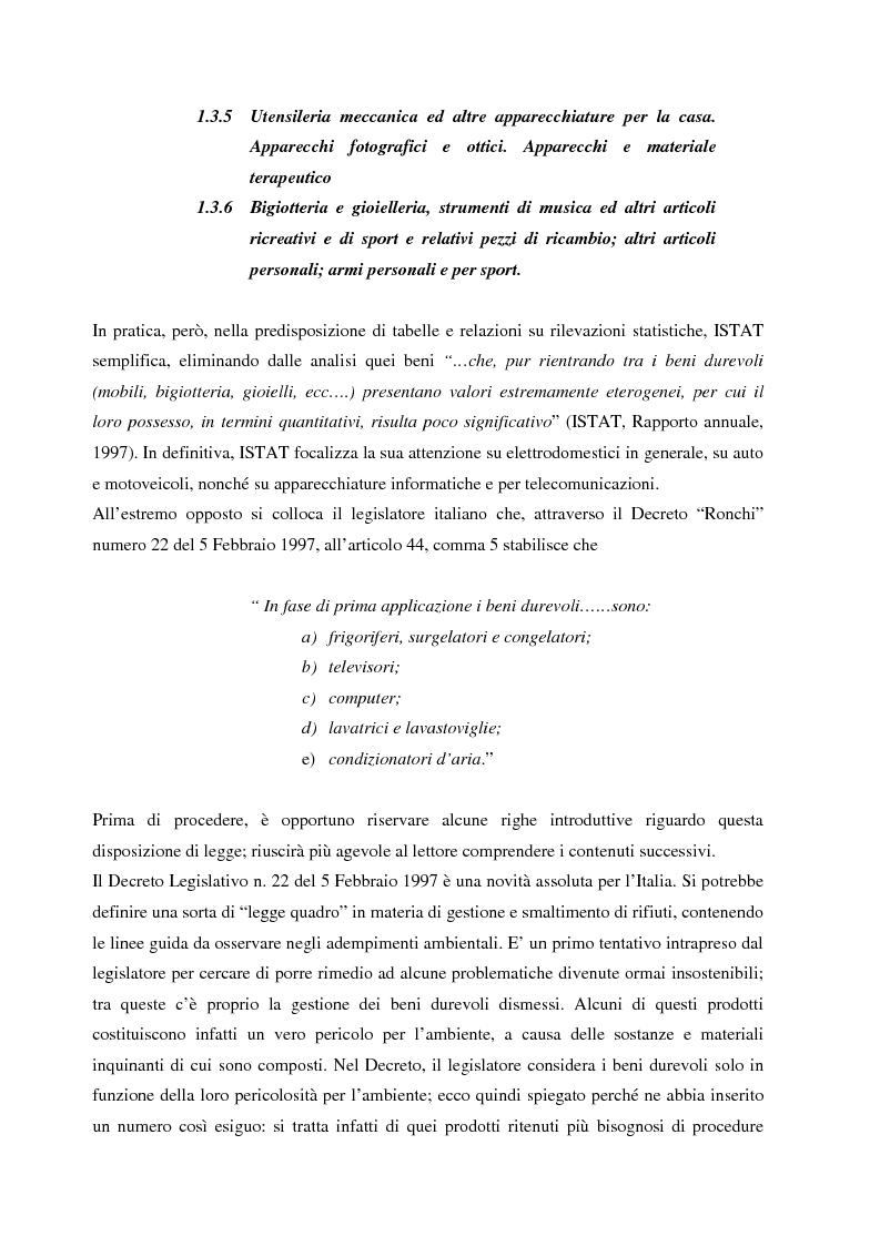 Anteprima della tesi: La gestione dei beni durevoli dismessi: creazione del sistema nazionale di raccolta, recupero e riciclaggio, Pagina 11