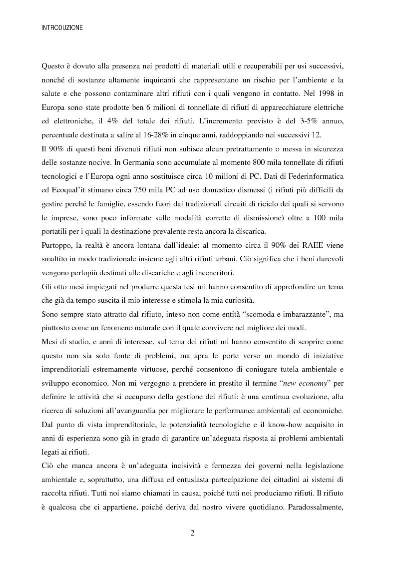 Anteprima della tesi: La gestione dei beni durevoli dismessi: creazione del sistema nazionale di raccolta, recupero e riciclaggio, Pagina 2