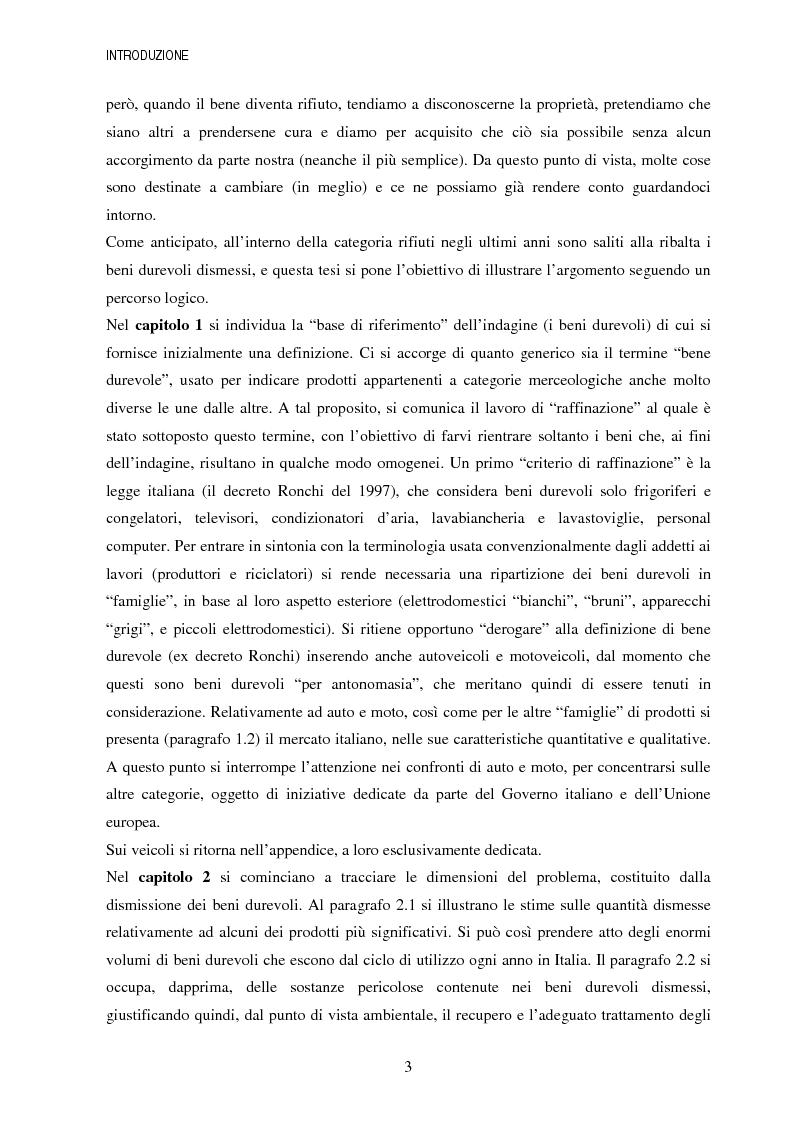 Anteprima della tesi: La gestione dei beni durevoli dismessi: creazione del sistema nazionale di raccolta, recupero e riciclaggio, Pagina 3