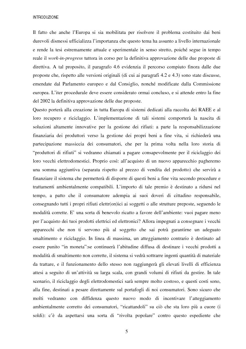 Anteprima della tesi: La gestione dei beni durevoli dismessi: creazione del sistema nazionale di raccolta, recupero e riciclaggio, Pagina 5