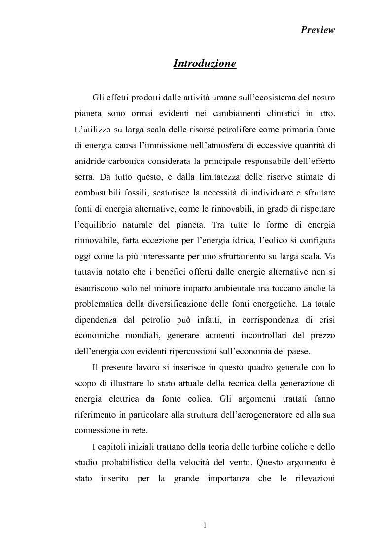 Anteprima della tesi: Stato dell'arte della produzione di energia elettrica da fonte eolica, Pagina 1