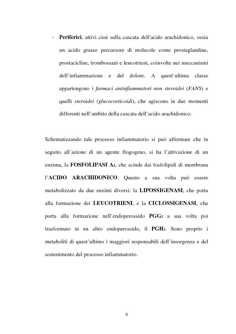 Anteprima della tesi: Aspetti farmacologici di due importanti inibitori delle COX-2: Celecoxib e Rofecoxib, Pagina 4