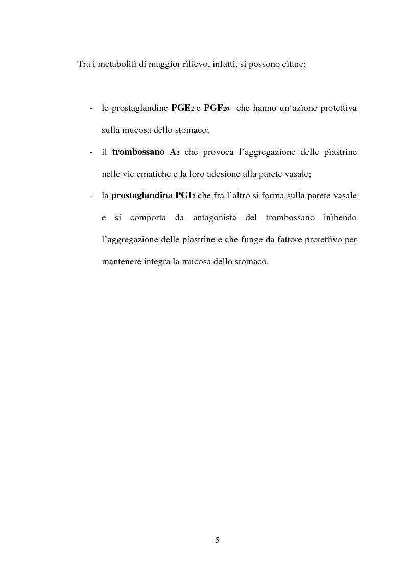 Anteprima della tesi: Aspetti farmacologici di due importanti inibitori delle COX-2: Celecoxib e Rofecoxib, Pagina 5