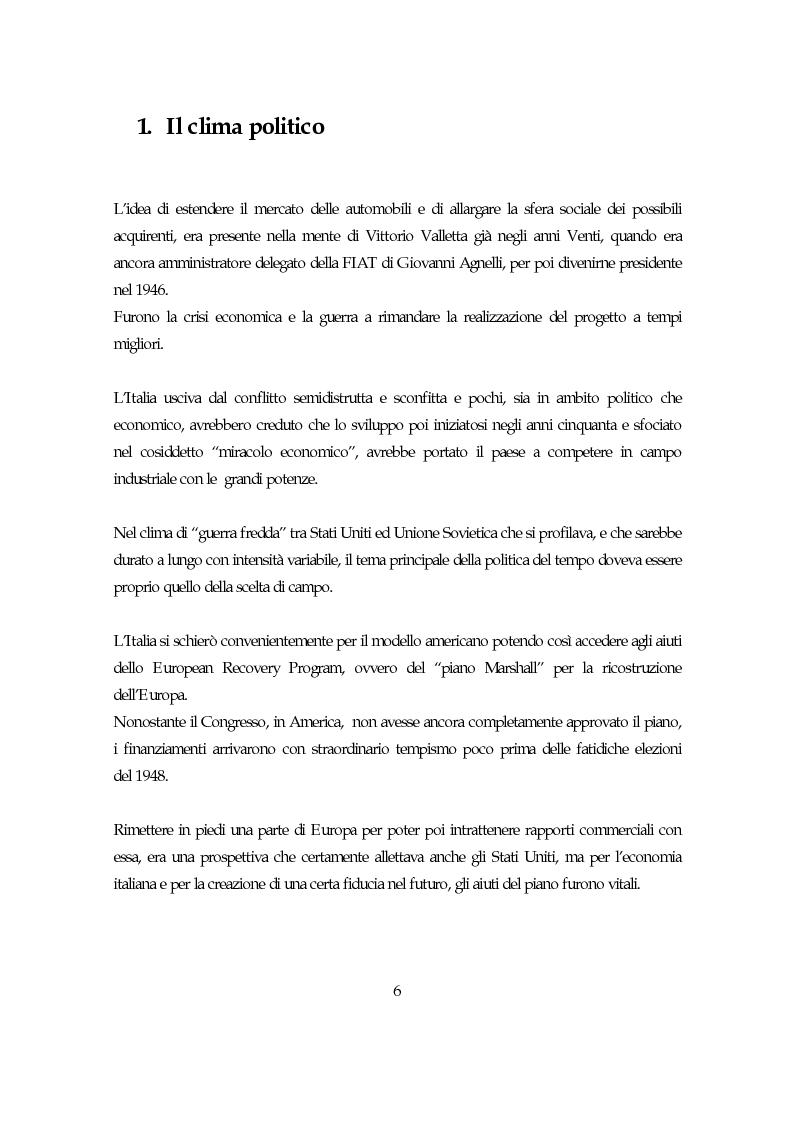 Anteprima della tesi: La società italiana e la Fiat negli anni della motorizzazione di massa, Pagina 4