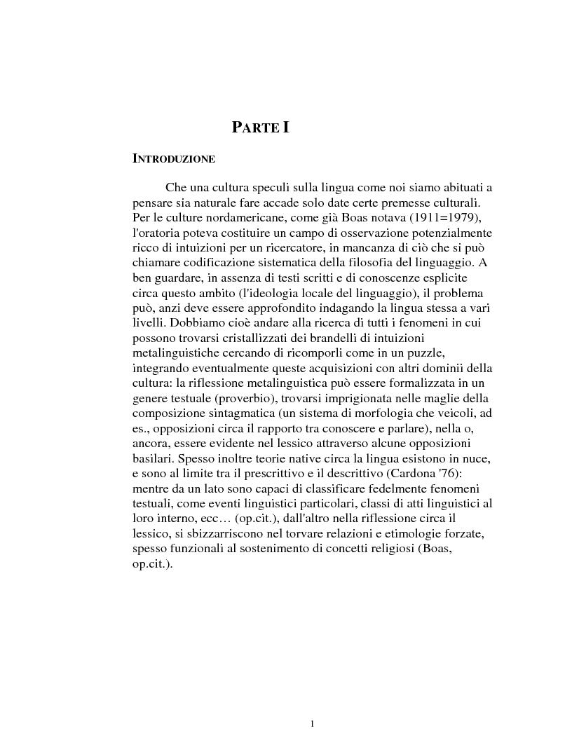 Anteprima della tesi: I logonimi nella lingua quechua, Pagina 1