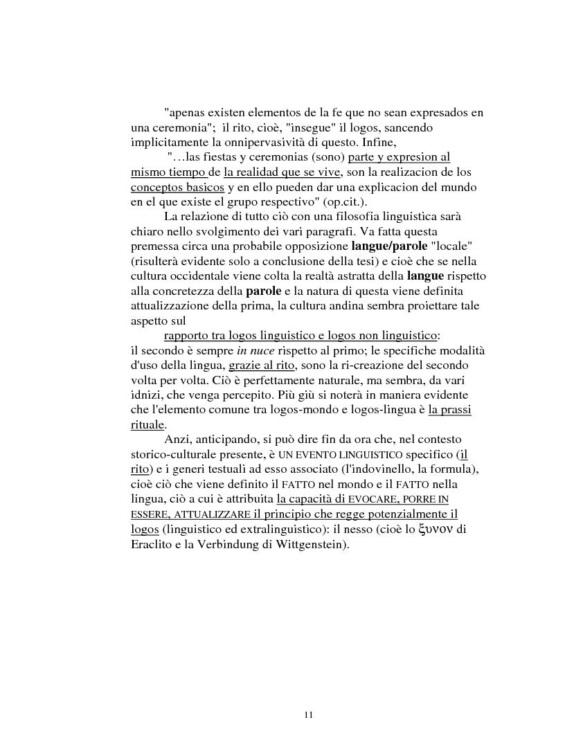 Anteprima della tesi: I logonimi nella lingua quechua, Pagina 11
