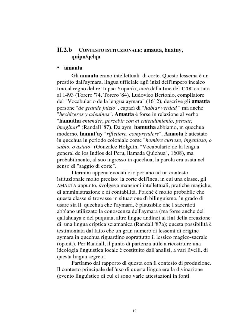 Anteprima della tesi: I logonimi nella lingua quechua, Pagina 12