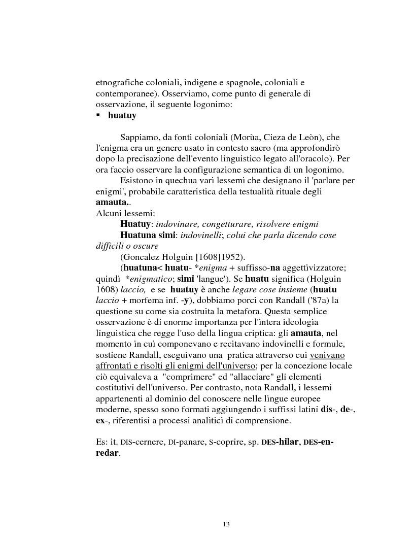 Anteprima della tesi: I logonimi nella lingua quechua, Pagina 13