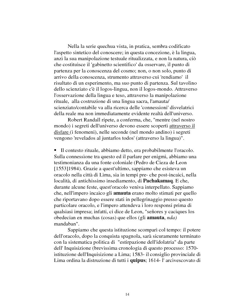 Anteprima della tesi: I logonimi nella lingua quechua, Pagina 14