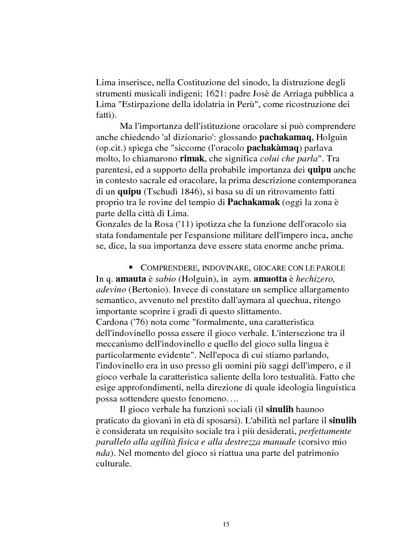 Anteprima della tesi: I logonimi nella lingua quechua, Pagina 15