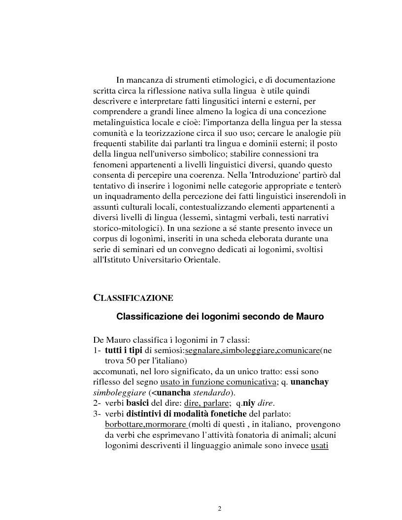 Anteprima della tesi: I logonimi nella lingua quechua, Pagina 2