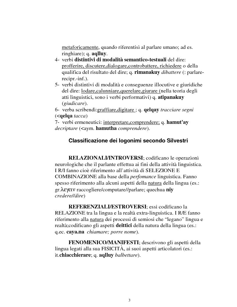 Anteprima della tesi: I logonimi nella lingua quechua, Pagina 3