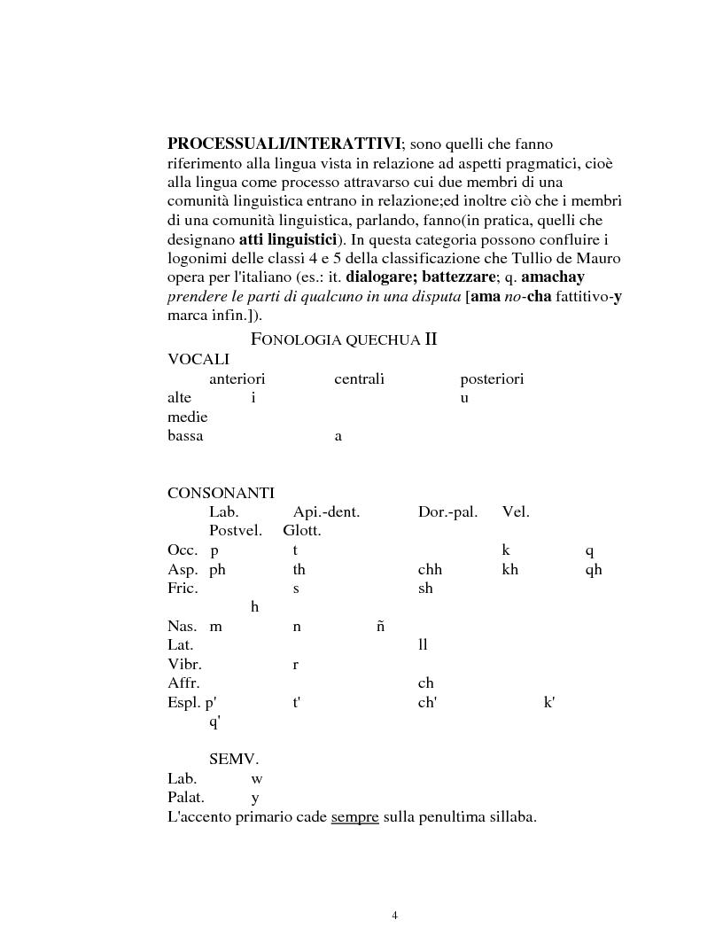 Anteprima della tesi: I logonimi nella lingua quechua, Pagina 4
