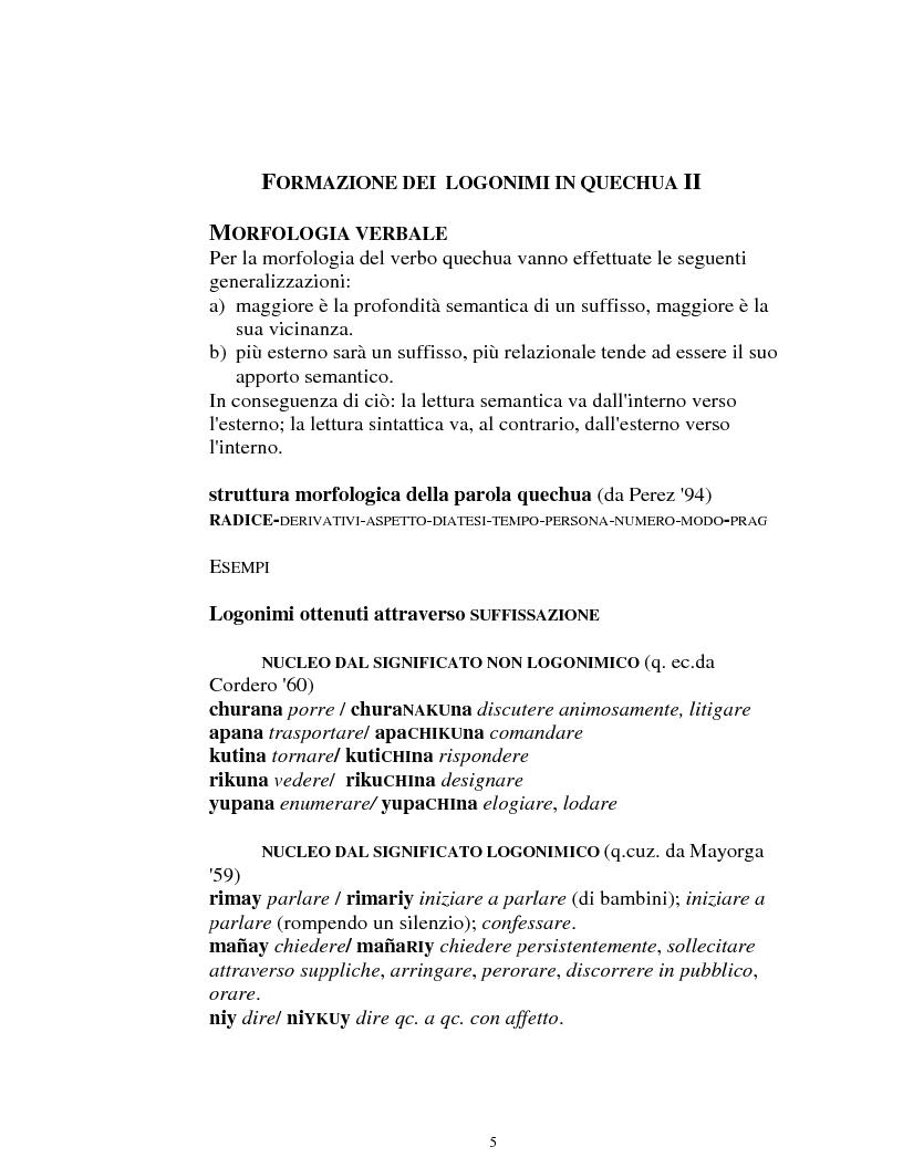 Anteprima della tesi: I logonimi nella lingua quechua, Pagina 5