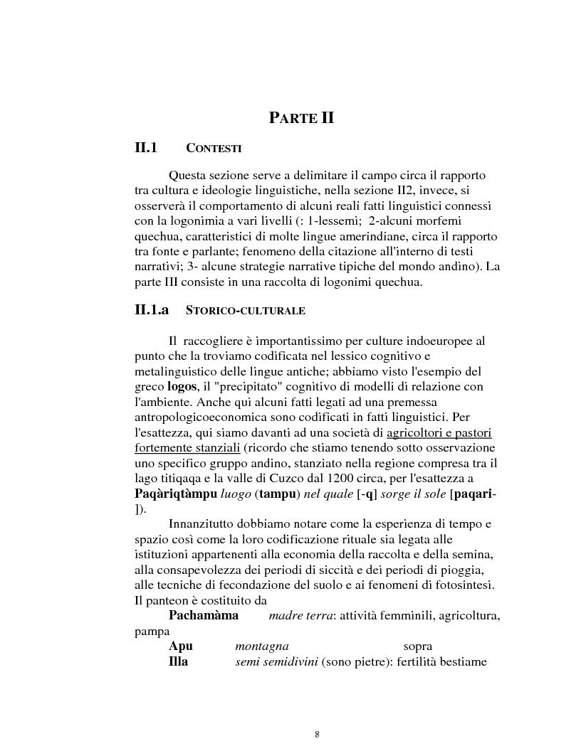 Anteprima della tesi: I logonimi nella lingua quechua, Pagina 8