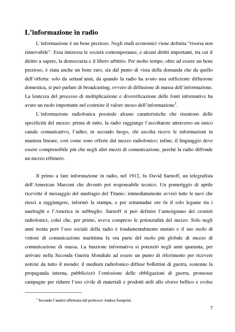 Anteprima della tesi: La radio di informazione. Il caso Radio 24, Pagina 1