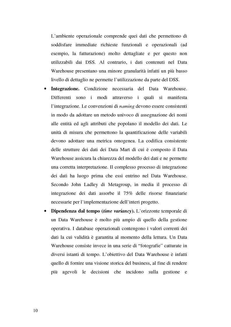 Anteprima della tesi: Strumenti per le decisioni aziendali: le tecniche di Data Warehousing, Pagina 10