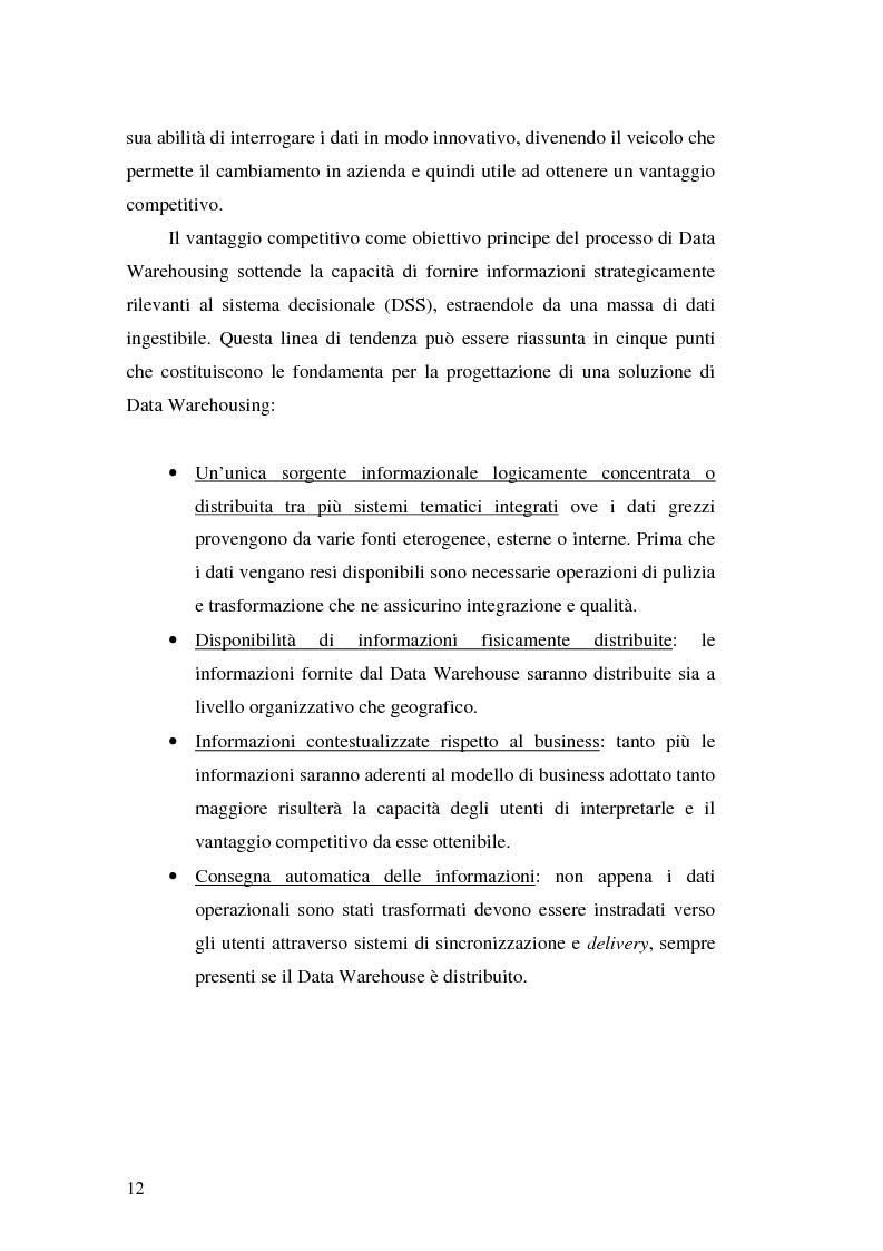 Anteprima della tesi: Strumenti per le decisioni aziendali: le tecniche di Data Warehousing, Pagina 12