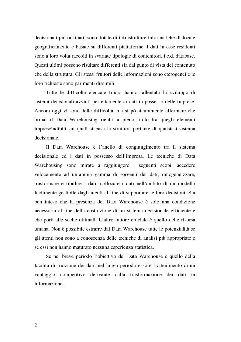 Anteprima della tesi: Strumenti per le decisioni aziendali: le tecniche di Data Warehousing, Pagina 2