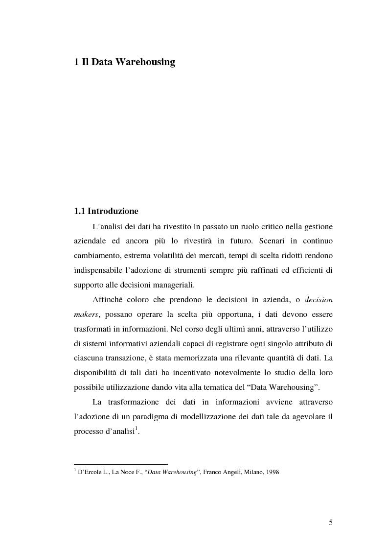 Anteprima della tesi: Strumenti per le decisioni aziendali: le tecniche di Data Warehousing, Pagina 5