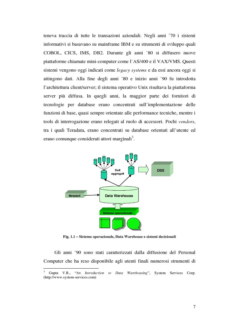 Anteprima della tesi: Strumenti per le decisioni aziendali: le tecniche di Data Warehousing, Pagina 7