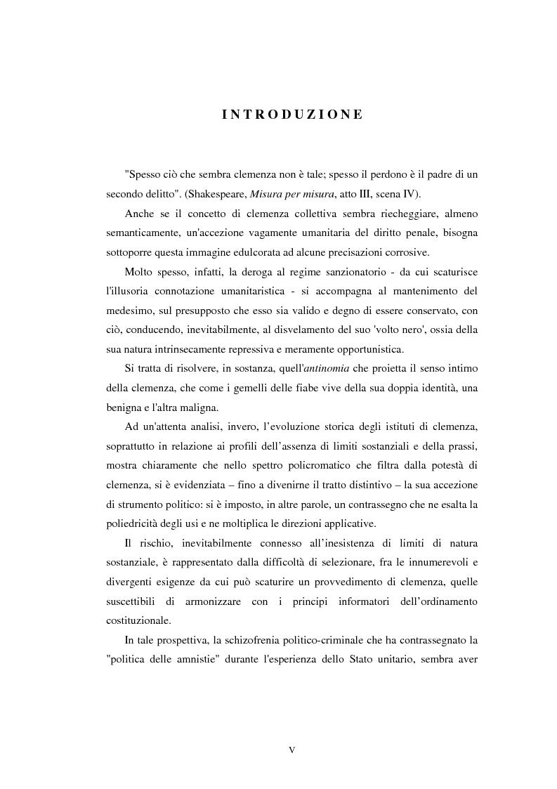 Anteprima della tesi: Istituti clemenziali in diritto penale: profili di legittimità costituzionale e di politica criminale, Pagina 1