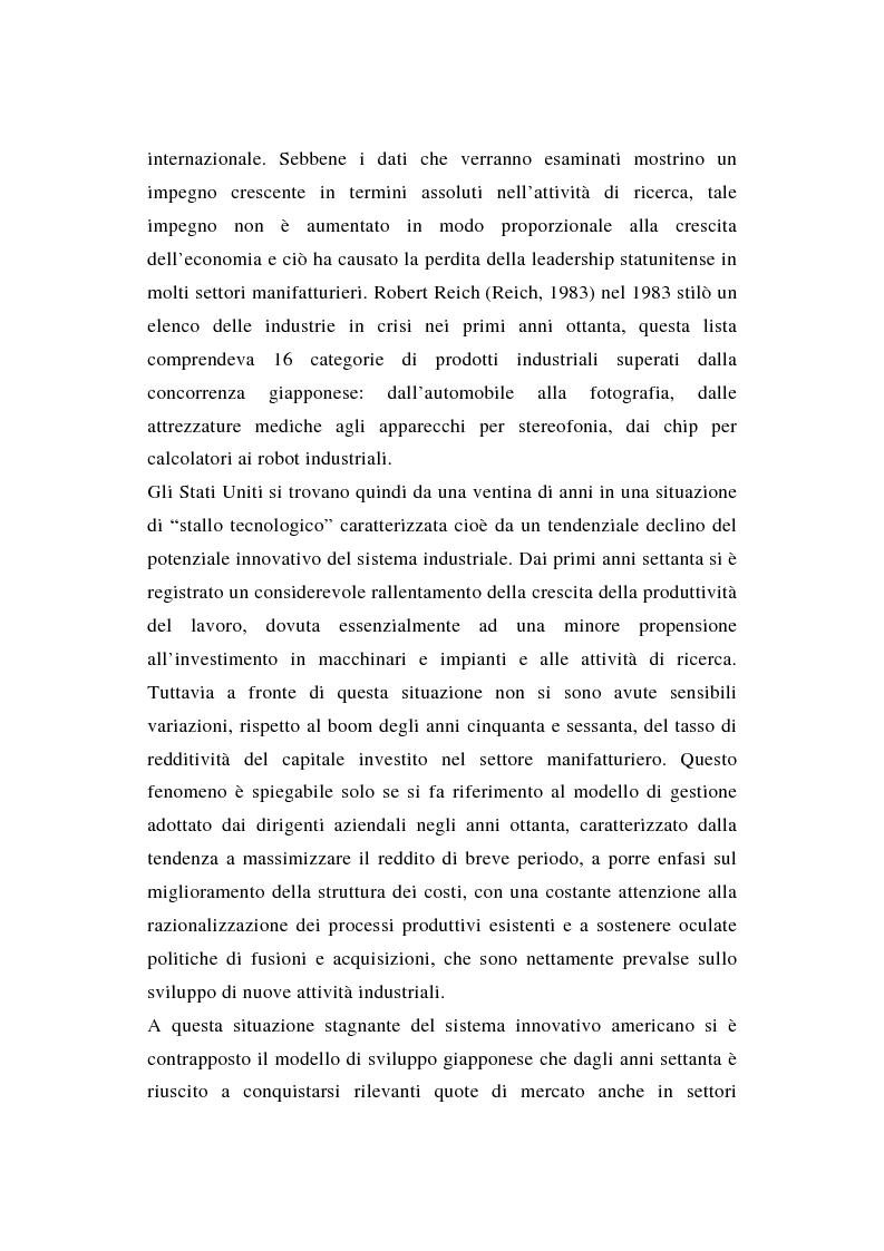 Anteprima della tesi: La ricerca e sviluppo industriale: situazione negli Stati Uniti, Pagina 2