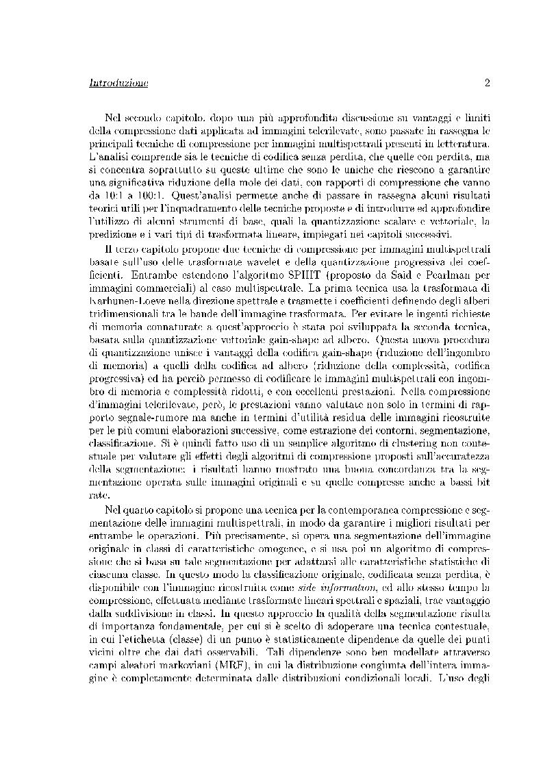 Anteprima della tesi: Compressione di immagini multispettrali, Pagina 2