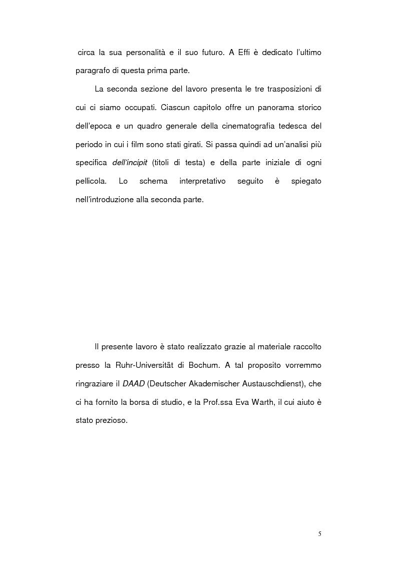 Anteprima della tesi: Letteratura e cinema in Germania. Effi Briest di Theodor Fontane e le sue trasposizioni cinematografiche, Pagina 3