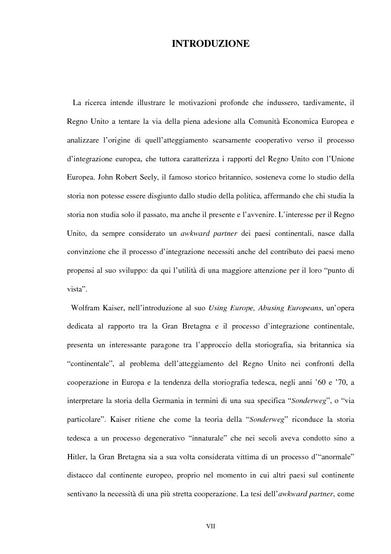 Anteprima della tesi: Una scelta contrastata. L'adesione del Regno Unito alla Comunità europea (1945-1963), Pagina 1