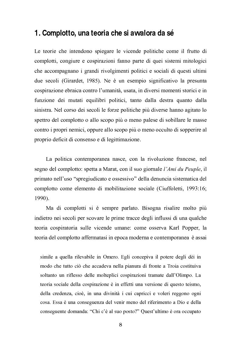 Anteprima della tesi: Complotto, congiura, cospirazione. L'uso politico delle teorie cospiratorie nei quotidiani italiani, Pagina 1