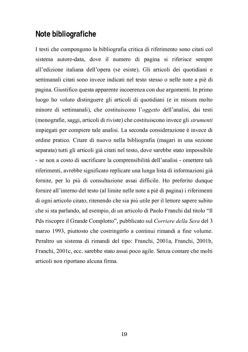 Anteprima della tesi: Complotto, congiura, cospirazione. L'uso politico delle teorie cospiratorie nei quotidiani italiani, Pagina 12