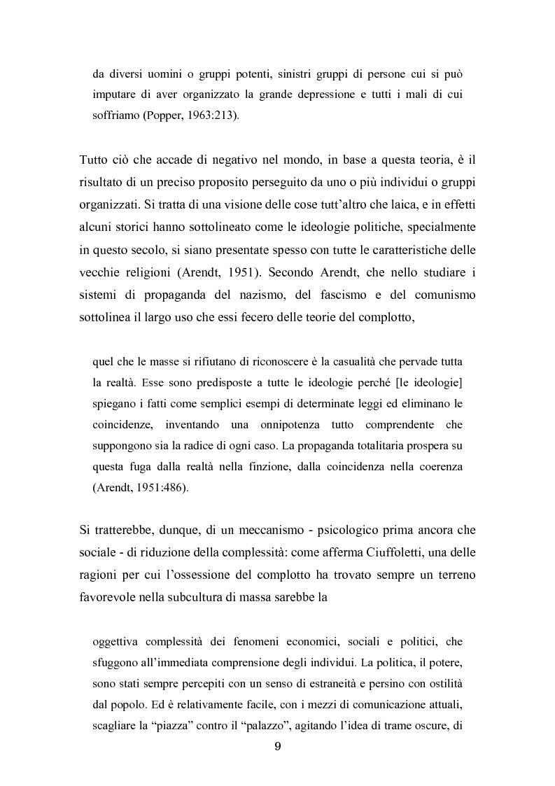 Anteprima della tesi: Complotto, congiura, cospirazione. L'uso politico delle teorie cospiratorie nei quotidiani italiani, Pagina 2