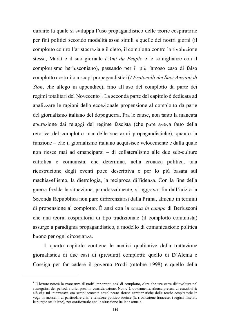 Anteprima della tesi: Complotto, congiura, cospirazione. L'uso politico delle teorie cospiratorie nei quotidiani italiani, Pagina 9
