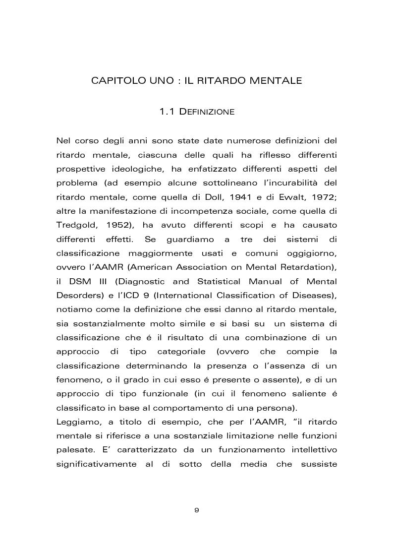 Anteprima della tesi: Risultati di un trattamento per il miglioramento delle abilità di lettura e di scrittura in soggetti con ritardo mentale, Pagina 1