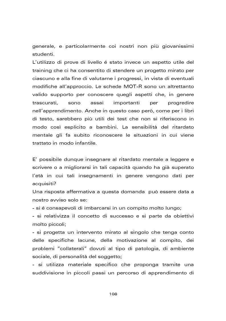 Anteprima della tesi: Risultati di un trattamento per il miglioramento delle abilità di lettura e di scrittura in soggetti con ritardo mentale, Pagina 14