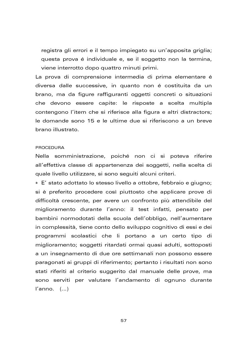 Anteprima della tesi: Risultati di un trattamento per il miglioramento delle abilità di lettura e di scrittura in soggetti con ritardo mentale, Pagina 7