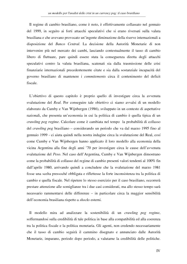 Anteprima della tesi: Un modello per l'analisi delle crisi in un currency peg: il caso brasiliano, Pagina 2